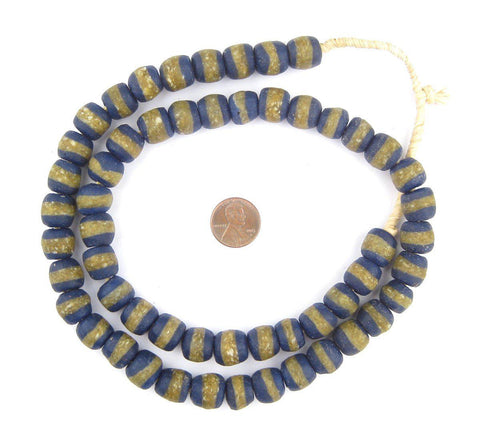 Cobalt Blue Kente Krobo Beads - The Bead Chest