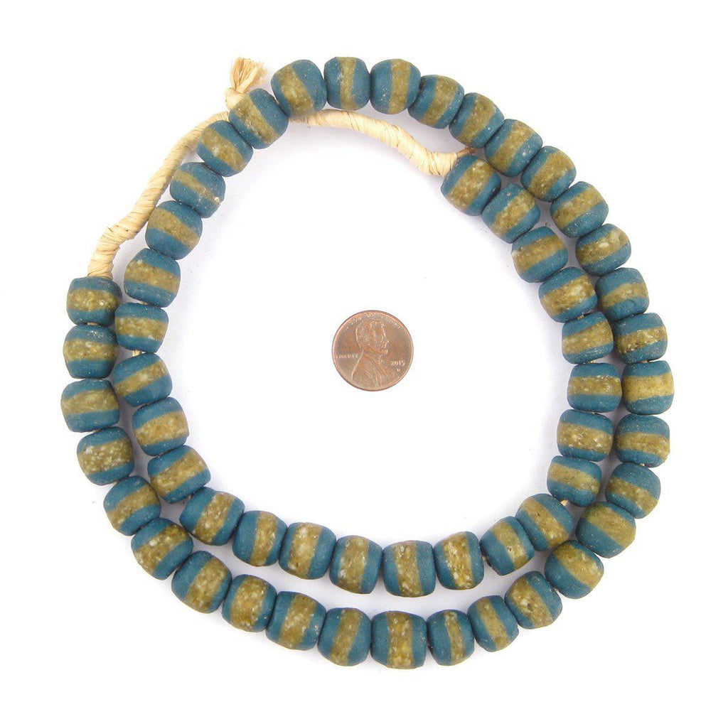 Teal Kente Krobo Beads - The Bead Chest