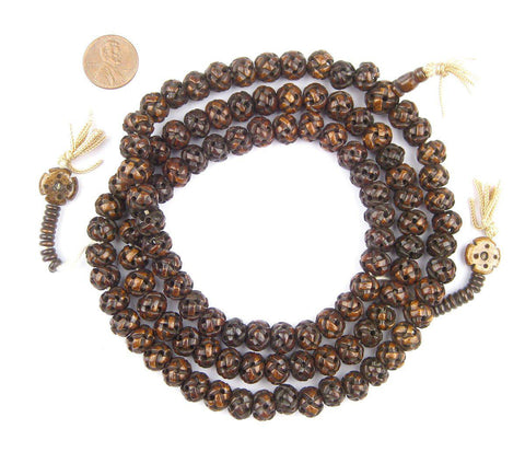 Image of Brown Premium Woven Carved Bone Prayer Beads (10mm) - The Bead Chest