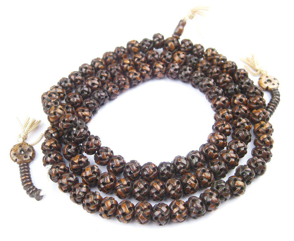 Brown Premium Woven Carved Bone Prayer Beads (10mm) - The Bead Chest