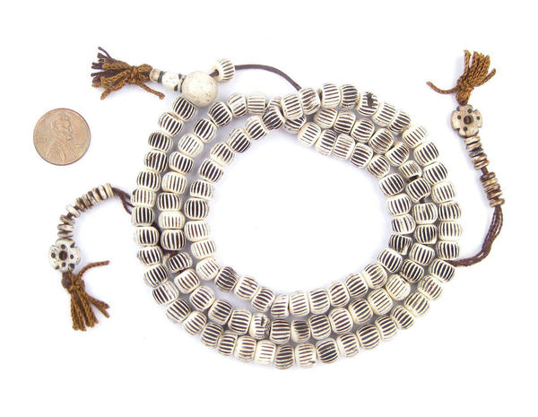 Bright Vintage-Style Carved Chevron Bone Prayer Beads (8mm)