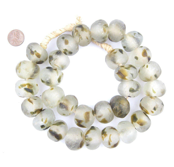 Jumbo Light Camouflauge Recycled Glass Beads (25mm)