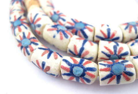 Blue Tulip Cylinder Krobo Beads - The Bead Chest