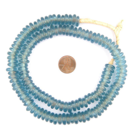 Image of Light Blue Rondelle Recycled Glass Beads - The Bead Chest