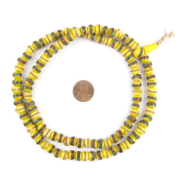 Yellow Vintage Inlaid Bone Prayer Beads (8mm)