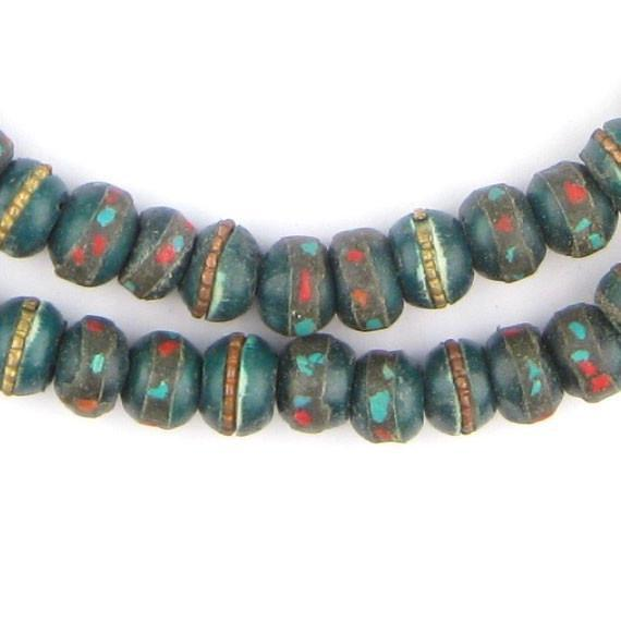 Dark Green Vintage Inlaid Bone Prayer Beads (8mm) - The Bead Chest