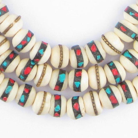Vintage Inlaid Bone Mala Beads (10mm) - The Bead Chest