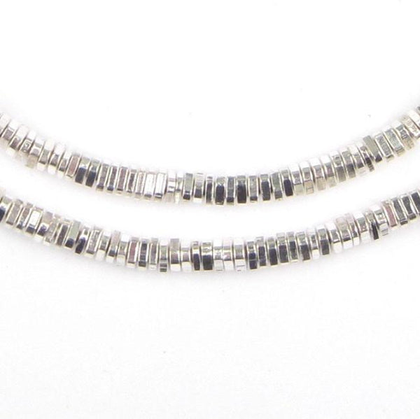 Faceted Shiny Silver Triangle Heishi Beads (4mm, Long Strand) - The Bead Chest