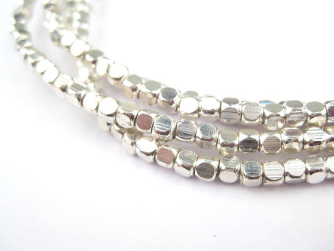 Rounded Shiny Silver Cube Beads (3mm) - The Bead Chest