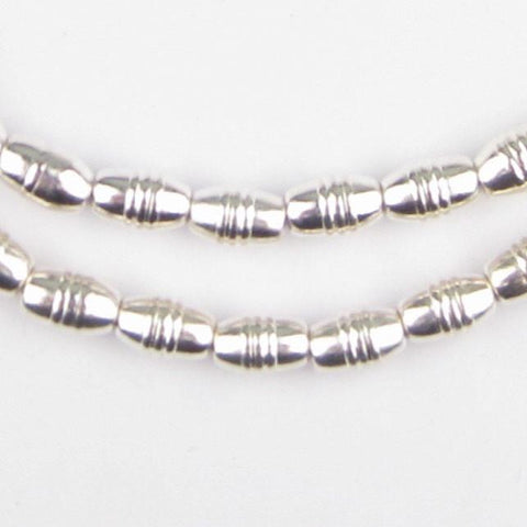 Patterned Silver Oval Beads (10x6mm) - The Bead Chest