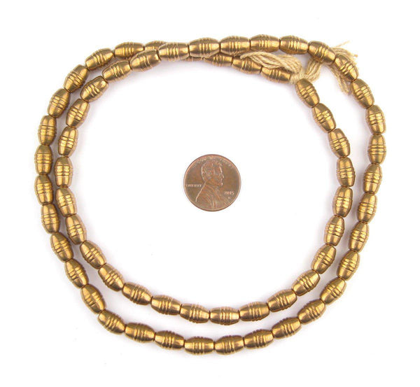 Patterned Brass Oval Beads (10x6mm)