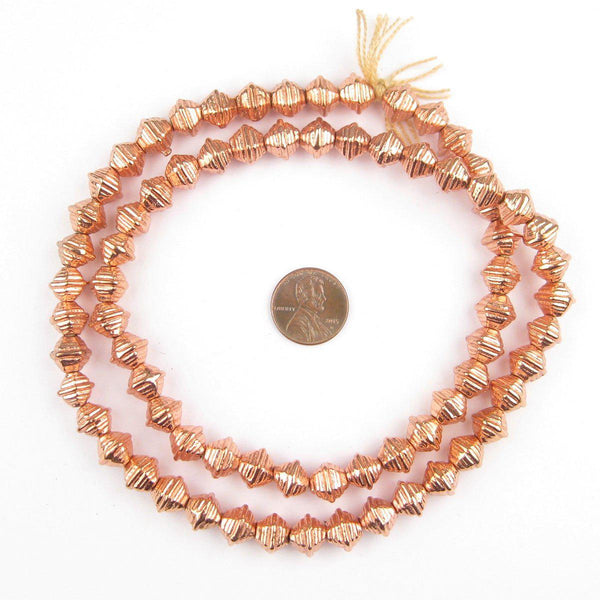 Striped Copper Bicone Beads