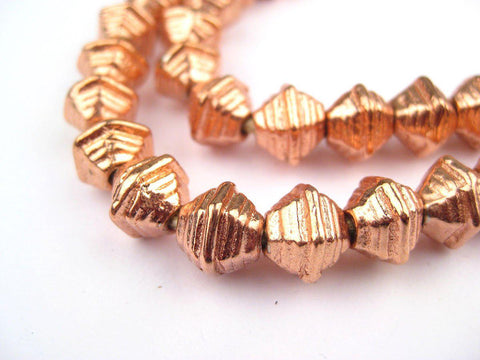 Striped Copper Bicone Beads - The Bead Chest