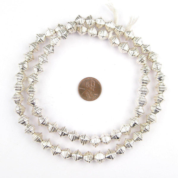 Striped Silver Bicone Beads