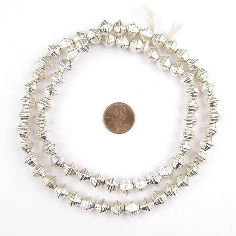 Striped Silver Bicone Beads - The Bead Chest