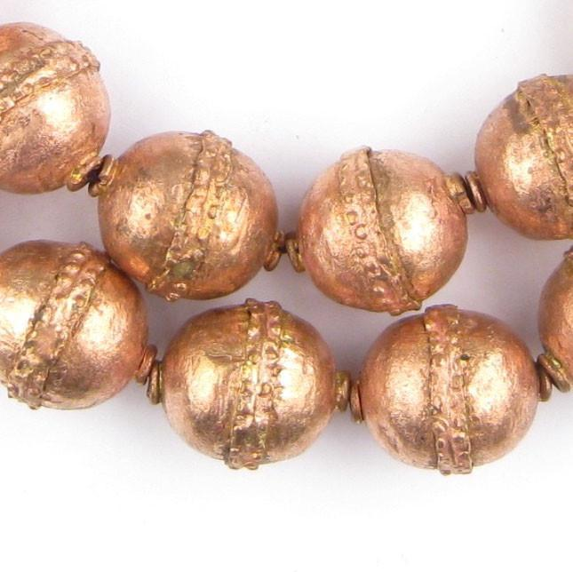 Artisanal Ethiopian Copper Beads (20x17mm) - The Bead Chest