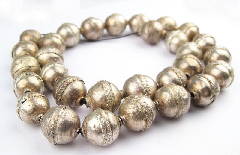 Artisanal Ethiopian Silver Beads (20x17mm) - The Bead Chest