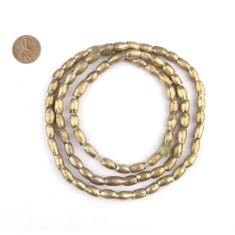 Ethiopian Folded White Metal Plate Beads (9x5mm) - The Bead Chest