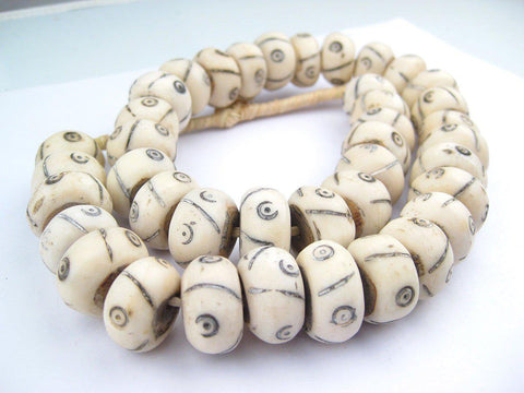 Criss Cross Eye Carved Bone Beads (Large) - The Bead Chest
