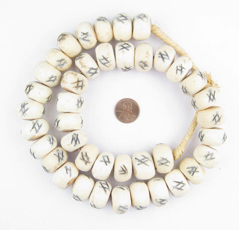 Image of Tic-Tac-Toe Carved Bone Beads (Large) - The Bead Chest