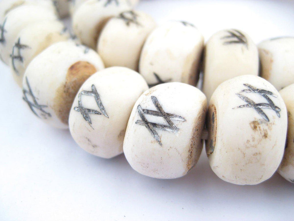 Tic-Tac-Toe Carved Bone Beads (Large) - The Bead Chest