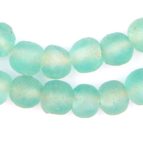 Caribbean Aqua Recycled Glass Beads (14mm)