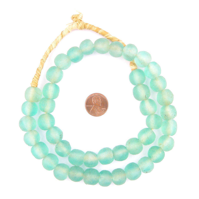 Caribbean Aqua Recycled Glass Beads (14mm) - The Bead Chest