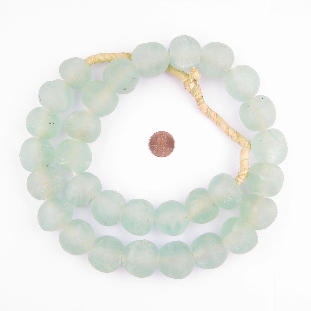 Jumbo Clear Aqua Recycled Glass Beads (25mm) - The Bead Chest
