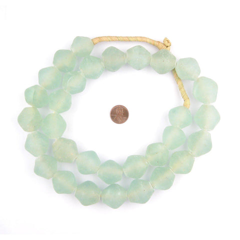 Jumbo Clear Aqua Bicone Recycled Glass Beads (25mm) - The Bead Chest