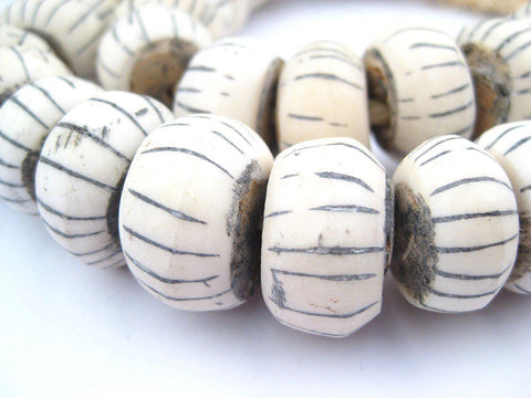 Image of Watermelon Carved Bone Beads (Large) - The Bead Chest