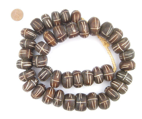 Image of Tribal Carved Brown Bone Beads (Large) - The Bead Chest