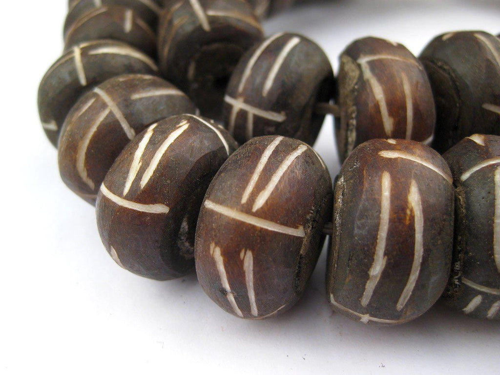 Tribal Carved Brown Bone Beads (Large) - The Bead Chest