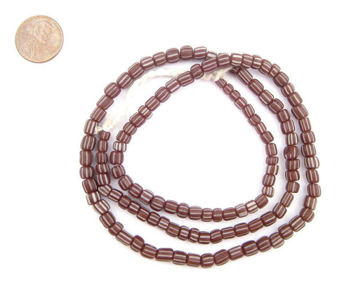 Image of Maroon Stripe Java Gooseberry Beads - The Bead Chest