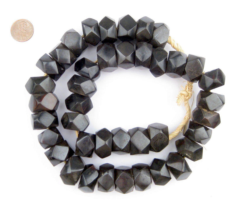 Black Kenya Bone Beads (Faceted) - The Bead Chest
