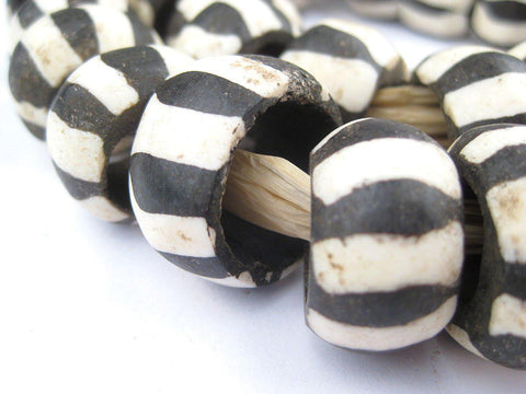 Zebra Batik Bone Beads (Ring) - The Bead Chest