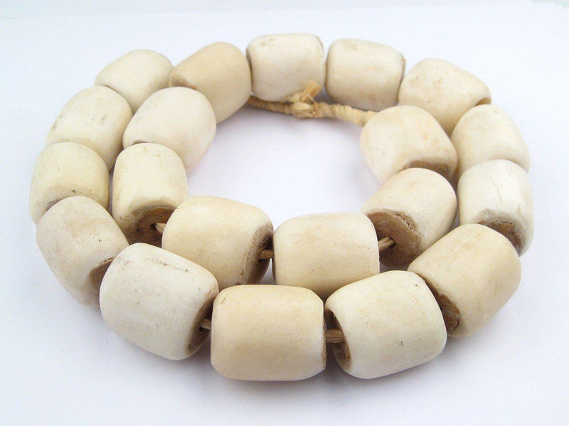 White Bone Beads (Barrel) - The Bead Chest
