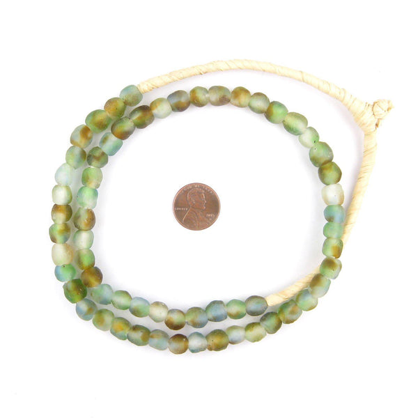 Blue Green Brown Swirl Recycled Glass Beads (9mm)