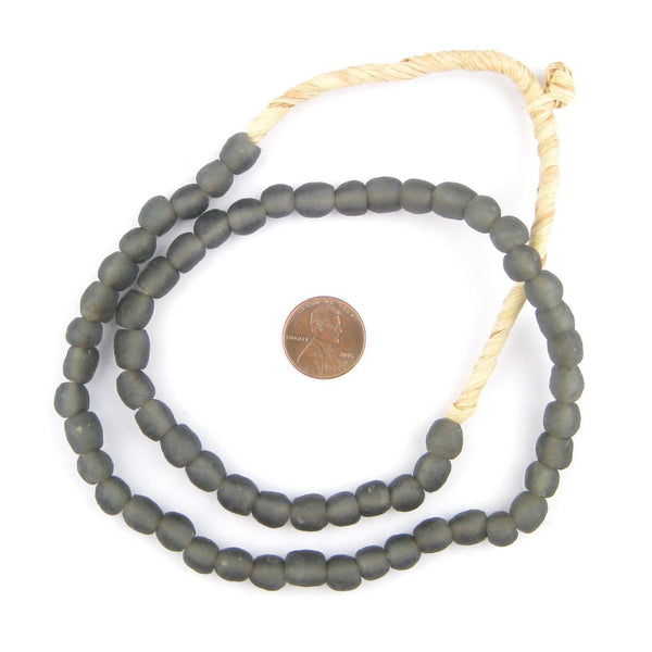 Charcoal Recycled Glass Beads (8mm)