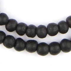Opaque Black Recycled Glass Beads (11mm)