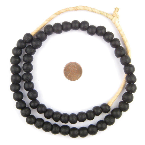 Image of Opaque Black Recycled Glass Beads (11mm) - The Bead Chest