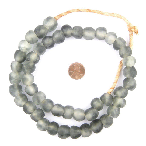 Dark Grey Mist Recycled Glass Beads (14mm) - The Bead Chest