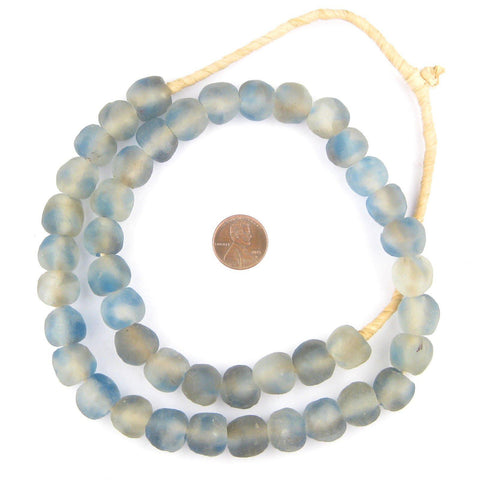 Blue Grey Mist Recycled Glass Beads (14mm) - The Bead Chest