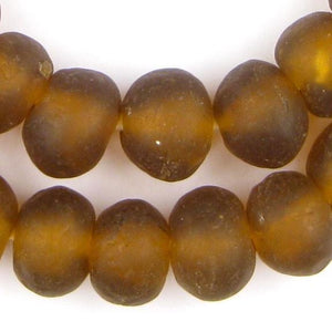 Jumbo Amber Recycled Glass Beads (24mm) - The Bead Chest