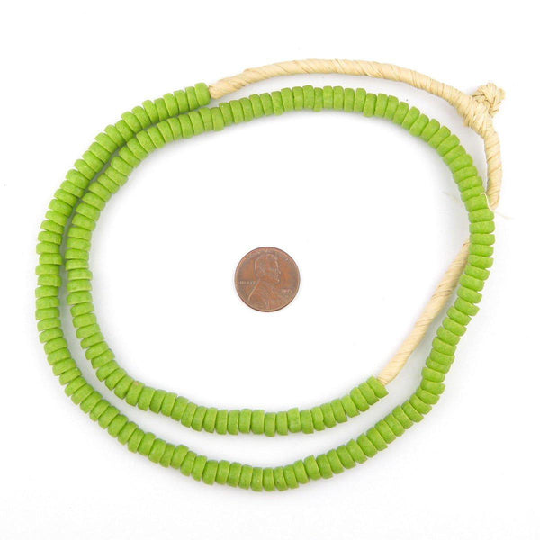 Lime Green Mini-Disk Sandcast Beads