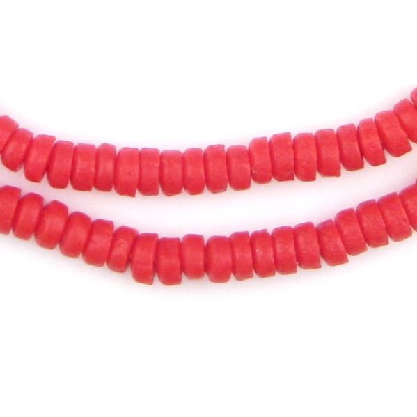 Red Mini-Disk Sandcast Beads - The Bead Chest