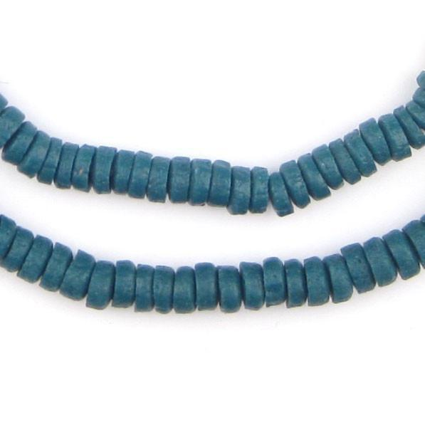 Teal Mini-Disk Sandcast Beads - The Bead Chest