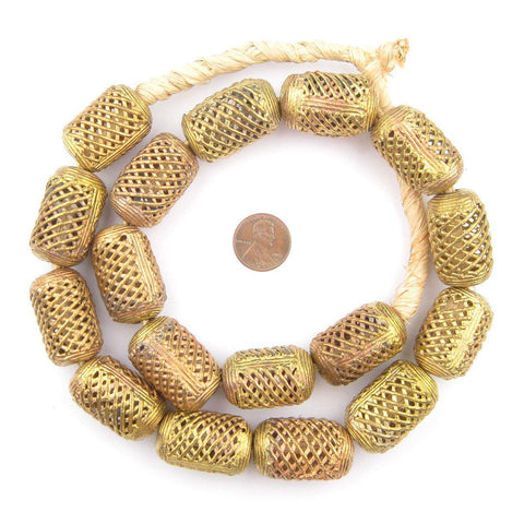Weaved Cylinder Brass Filigree Beads (30x20mm) - The Bead Chest