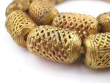 Weaved Cylinder Brass Filigree Beads (30x20mm)