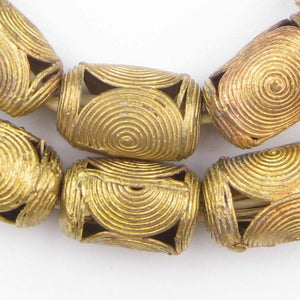 Cameroon-Style Cylinder Brass Filigree Beads (20mm) - The Bead Chest