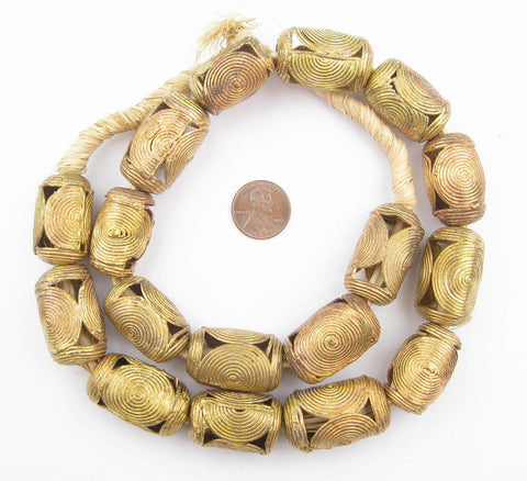 Image of Cameroon-Style Cylinder Brass Filigree Beads (20mm) - The Bead Chest